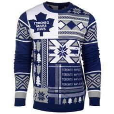 Toronto Maple Leafs Nhl 2015 Patches Ugly Crewneck Holiday Sweater