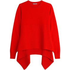 Alexander McQueen Cashmere Pullover (€710) ❤ liked on Polyvore featuring tops, sweaters, red, asymmetrical hem sweater, asymmetrical hem top, cashmere tops, alexander mcqueen tops and boxy sweater