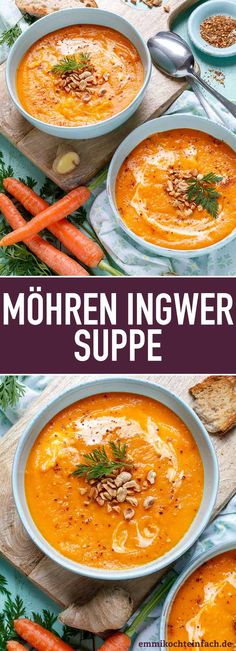 Carrot ginger soup made easy – easy to cook - Suppe Clean Eating Recipes For Dinner, Clean Eating Breakfast, Clean Eating Meal Plan, Clean Eating Snacks, Healthy Dinner Recipes, Vegetarian Recipes, Dessert Recipes, Carrot Ginger Soup, Clean Eating For Beginners