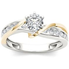 Shop for CT. Diamond Crossover Engagement Ring in Two-Tone Gold at Zales - CT. Diamond Crossover Engagement Ring in Two-Tone Gold Diamond Jewelry, Jewelry Rings, Silver Jewelry, Swarovski Jewelry, Pearl Jewelry, Gold Jewellery, Crystal Jewelry, Wire Jewelry, Two Tone Engagement Rings
