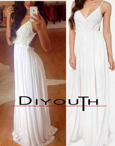 MySexyStyles.com Chic Sexy V Neckline Backless White Chiffon Prom Dresses Maxi Long Engagement Dress Open Back Evening Dresses