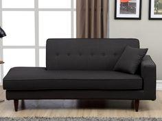 Chaise longue de tela MANON - Gris antracita - Ángulo izquierdo