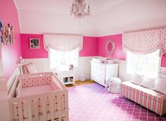 Hot Pink and White Nursery - bold colors and fun mix of patterns!