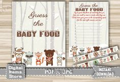 Woodland Winter Guess The Baby Food - Printable Guess The Baby Food with Snow Forest Animals Sign, cards labels - Instant Download - w2 by DigitalitemsShop on Etsy