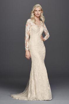 Extra Length Lace Long Sleeve Illusion Neckline Wedding Dress - White, 8
