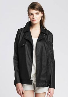 """The relaxed fit gives off an """"I'm so comfortable it's crazy"""" vibe while back pleats and double snaps make this raincoat trendy, not frumpy. Coated Linen Moto Jacket, $175; Banana Republic.   - Redbook.com"""