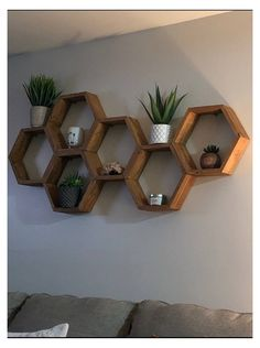 Honeycomb Shelves, Geometric Shelves, Hexagon Shelves, Geometric Decor, Living Room Shelves, Home Living Room, Living Room Decor, Shelf Ideas For Living Room, Shelves For Bedroom
