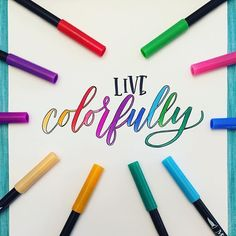The lovely @leslie.writes.it.all inspiring us to spread a little color in the world🌈 . 🔸 Created with MozArt Dual Brush Pens - follow link… Brush Lettering, Hand Lettering, Cool Fonts, Fun Fonts, Brush Pen Art, Self Help, Pens, Instagram Posts, Shirt Ideas
