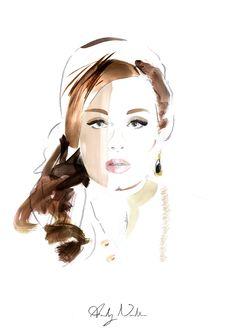 adele illustration drawing watercolour watercolor pencil sketch face portrait art artist ink  paint painting