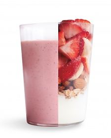 1 cup quartered strawberries  1 sliced banana  1/4 cup raw almonds  1/2 cup old-fashioned oats  1 cup low-fat vanilla yogurt  1 teaspoon maple syrup