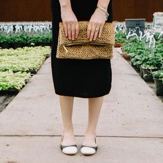 Cutest leopard clutch and black and white flats