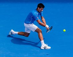 Novak Djokovic lunging for a backhand in first round. #djokovic #australianopen #tennisnow