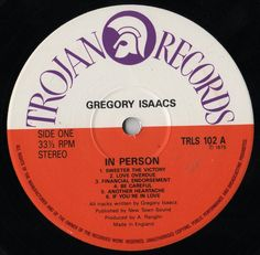 Gregory Isaacs - In Person (Label)
