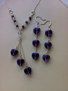 Valentine's Day Set - Purple Heart Dangle Earrings and Y by RileyJewelryDesigns, $30.00