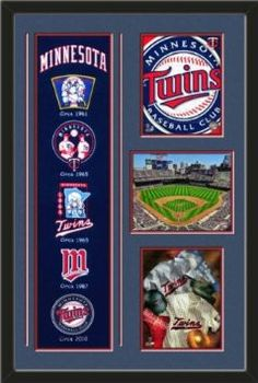 Minnesota Twins Banner With Logos-2011 Minnesota Twins Team Logo photo, Minnestota Twins Cooperstown Collage photo, Target Field 2012 Photo Framed With Team Color Double Matting In Quality Black Frame-Awesome & Beautiful