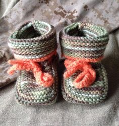 Knitted Baby Booties  camo size 0-6 mo by JNPsStringsNThings