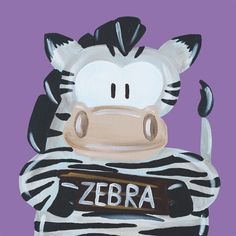Kinderschilderijtje Beessie Zebra. Verkrijgbaar in verschillende soorten achtergrond kleuren en formaten.