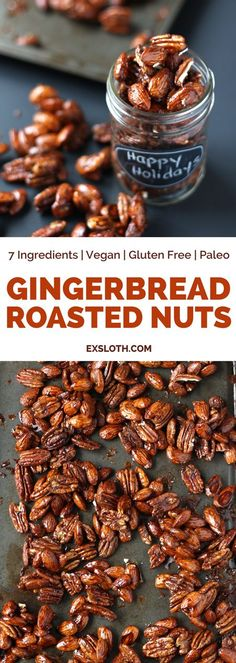These gingerbread glazed roasted nuts use the traditional sweet and spicy flavou. These gingerbread glazed roasted nuts use the traditional sweet and spicy flavour of gingerbread me Nut Recipes, Recipies, Detox Recipes, Free Recipes, Spiced Nuts, Roasted Nuts, Candied Nuts, Vegan Gifts, Christmas Appetizers