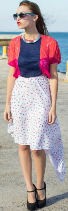 Anchor Print Skirt by TamtrumClothing on Etsy, £14.82