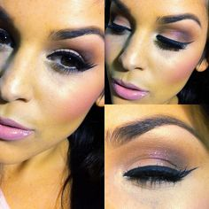 PINK everything! I added a pink glitter to my soft brown eye makeup to feel extra girly. @angelicaprad0