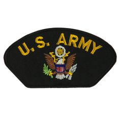 US Army Military Large Patch - Black US