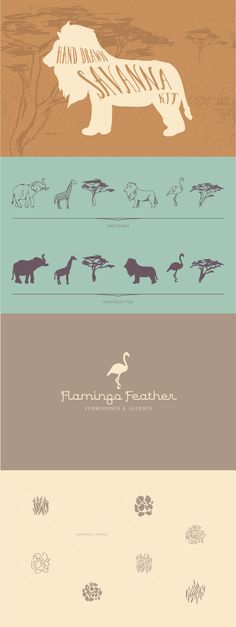 Savanna Kit - Designs By Miss Mandee on Creative Market. Use these hand drawn savanna elements to give your design some African flair! Great for t-shirt designs, logos, and photo overlays. Love that flamingo!