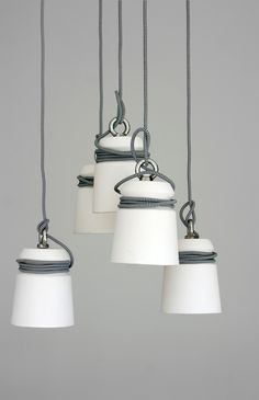 Cable Lights by Patrick Hartog (The lights can be customized to the likes of the user, different colored or patterned cables directly result in a different looking shade.)