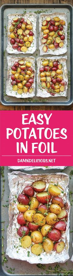 DAMN DELICIOUS - Easy Potatoes in Foil - You won't believe how easy it is to make potatoes right in foil - simply cut, wrap in foil and bake. Easy clean-up and just so good! Grilled Vegetable Recipes, Vegetable Dishes, Grilling Recipes, Cooking Recipes, Grilled Veggies, Grilled Asparagus, Grilling Ideas, Healthy Grilling, Barbecue Recipes