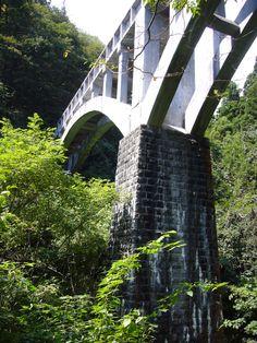 平成24年度土木学会選奨土木遺産  対象構造物:花貫川第一発電所第三号水路橋(はなぬきがわだいいちはつでんしょだいさんごうすいろきょう)  受賞理由:アーチの導水路橋で我が国における初期のコンクリート橋であり、風光明媚な県立自然公園の中でめがね橋の愛称で親しまれている貴重な土木遺産である。  支部:関東支部  所在地:茨城県高萩市  竣工年/和暦(西暦):大正8年(1919年)