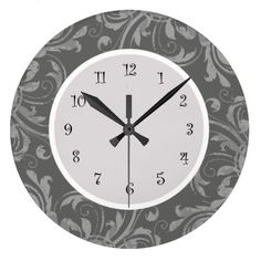 Beautiful floral damask kitchen wall clock in classy grey and white in a high quality acrylic that lets you decorate your walls in style. Kitchen Wall Clocks, Wall Clock Design, Damask, Grey And White, Walls, Classy, Floral, Beautiful, Home Decor
