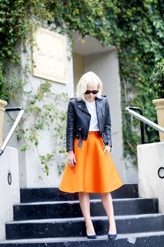 Pop of Colour #leather #streetstyle