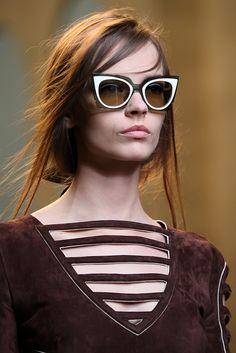 Fendi SS15; Cateye Sunglasses; Horizontal Lines