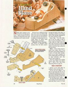 Shopnotes issue 61 by Adrian Kuney Woodworking Hand Planes, Woodworking Jigs, Woodworking Projects, Metal Tools, Old Tools, Lumberjack Tools, Diy Easel, Wooden Plane, Wood Joints
