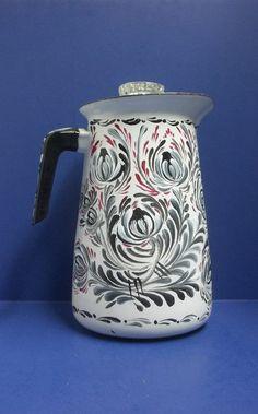 Vintage White Ceramic Enamelware Coffee Pot Painted in a Rosemaling, Scandinavian, Swedish Norwegian Folkart Design in Red, Black and White.