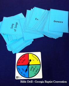 Books of the Bible Spinner game - This is a fun game we have used for years in Bible Drill.  I think we found the original idea in Lifeway's kids Sunday School Material.  Create a spinner (or purchase a blank one from a school supply store) with four sections.  Label section 1 - Pronounce it, section 2 - Say the book before, section 3 - say the book after, section 4 - Find the book.  Add cards with the names of the books of the Bible.  Great review!