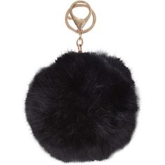 Humble Chic NY Pom Pom ($28) ❤ liked on Polyvore featuring accessories, black, fur key ring, key chain rings, key chain, fur key chain and ring key chain