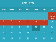 The jquery-calendar.js plugin helps you create responsive, nice-looking calendars with support for variable colors and custom events