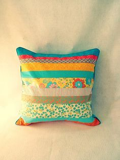 18 x 18 inch patchwork pillow cover with envelope closure