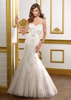 Trumpet/Mermaid Sweetheart Beading Organza Court Train Wedding Dress at Millybridal.com