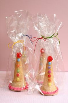 Fill the cones up with smarties and these ice cream cones makek a great party favour