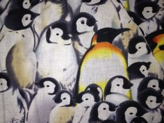 Penguin print fabric swatch for custom made-to-order scrub