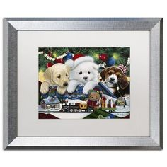 """Trademark Art """"Curious Christmas Pups"""" by Jenny Newland Framed Graphic Art Size: 16"""" H x 20"""" W x 0.5"""" D"""