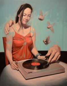 Artist: Ben Smith {contemporary #surreal art large hands helping seated woman play vinyl record on turntable painting}