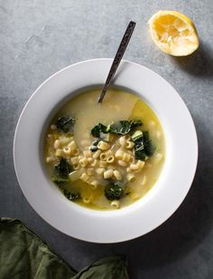 Lemony Soup with White Beans, Kale and Pasta