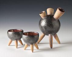 Teapot with cups, Sputnik style #collectibles #art #teapot