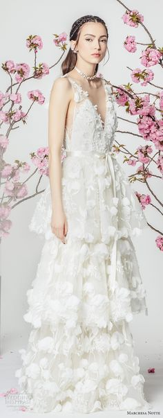 marchesa notte spring 2018 bridal sleeveless v neck full embellishment layered skirt romantic modified a  line wedding dress sweep train (7) sdv -- Marchesa Notte Spring 2018 Wedding Dresses