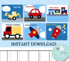 Nursery Wall Art TRANSPORTATION Kids Room, Airplane, Car, Truck, Train, Bulldozer and Rocket. Set of 6. Instant Download $18.95