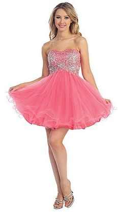 Bright pink short prom or homecoming dress has high waist and sweetheart bodice View Size Chart