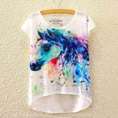 Colorful Horse T-Shirt Women Short Sleeve t-shirt