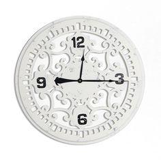 Ażurowy drewniany zegar ścienny. | Kolory \ Biały Style Serie \ Styl rustykalny Dodatki \ Zegary Style Serie \ Styl romantyczny Wszystkie produkty | Impresje24.pl